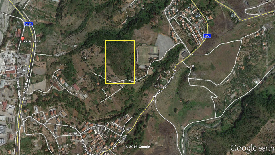 Veduta aerea della località Sicilione nell'aerea evidenziata in giallo. (foto: Google Earth)