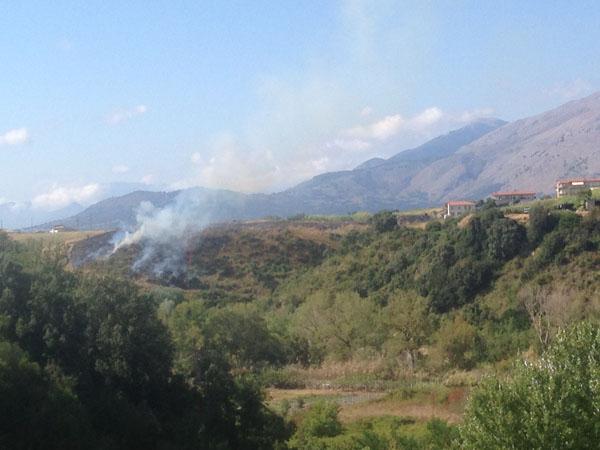 L'incendio di ieri a Santa Maria del Cedro
