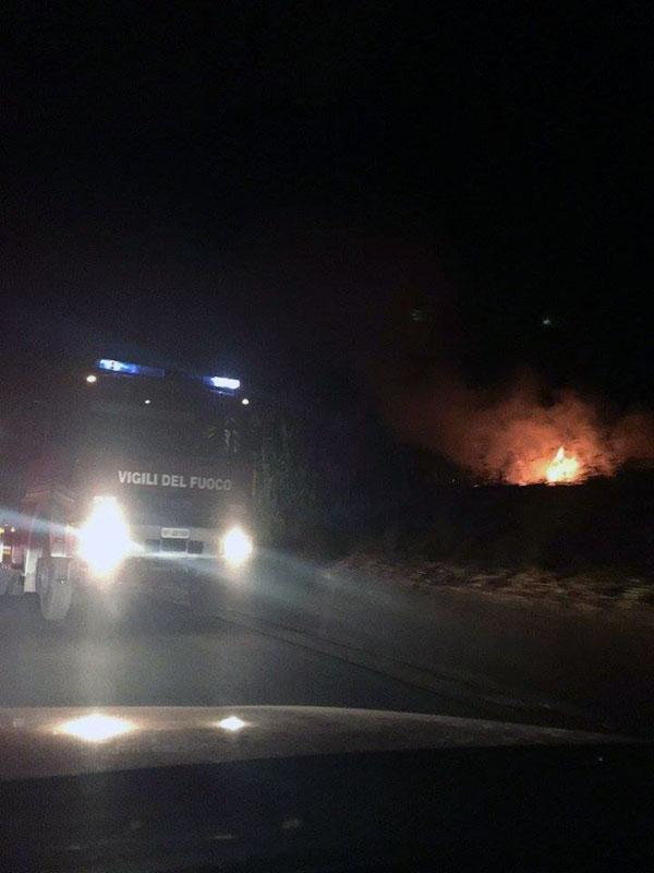 L'incendio nei pressi del sottovaso ferroviario di Santa Maria del Cedro