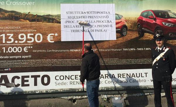 guardia piemontese acquappesa pannelli pubblicitari sequestrati iacovo carabinieri