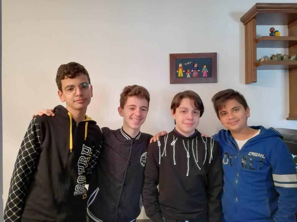 I quattro ragazzi vincitori delle Ops regionali a squadre