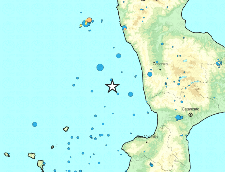 terremoto Costa Calabra nord occidentale Cosenza
